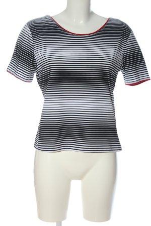 Foreigner T-shirt rayé blanc-noir gradient de couleur style décontracté
