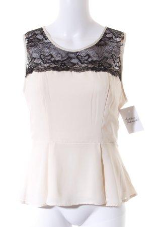Forever 21 ärmellose Bluse schwarz-creme Elegant