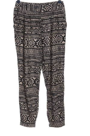 Forever 21 Baggy Pants wollweiß-schwarz Allover-Druck Casual-Look