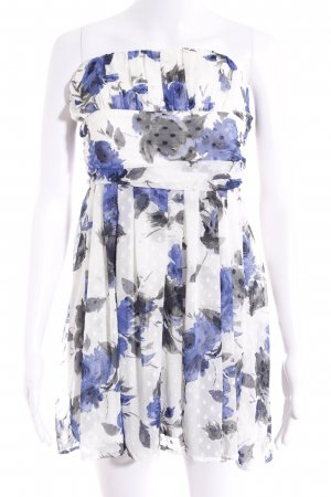 Forever 21 Bandeaukleid creme-dunkelblau florales Muster Casual-Look