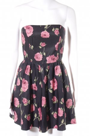 Forever 21 Bandeaukleid schwarz-pink Blumenmuster Romantik-Look
