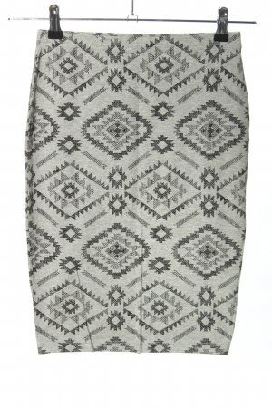 Forever 21 Bleistiftrock hellgrau-schwarz grafisches Muster Casual-Look