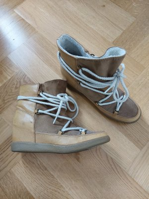 Forever 21 Boots 39 hidden wedge Keilabsatz Braun Nude Schnürung Nowles