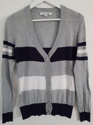 Forever 21 Cardigan, dunkelblau/weiß/grau mit schönen silbernen Zierknöpfen, Größe S