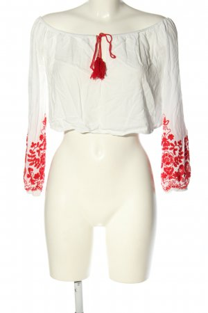 Forever 21 Carmen-Bluse weiß-rot Blumenmuster Casual-Look