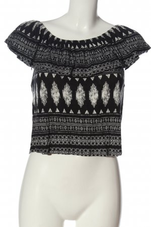 Forever 21 Kurzarm-Bluse schwarz-wollweiß grafisches Muster Casual-Look