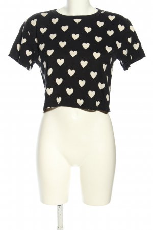 Forever 21 Cropped shirt zwart-wit volledige print casual uitstraling