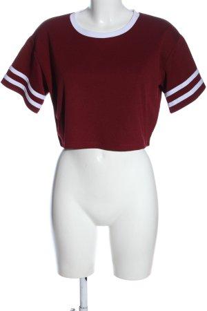Forever 21 Camisa recortada rojo-blanco estampado a rayas look casual