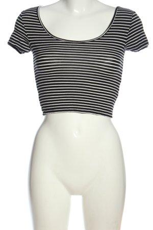 Forever 21 Camisa recortada negro-blanco estampado a rayas look casual