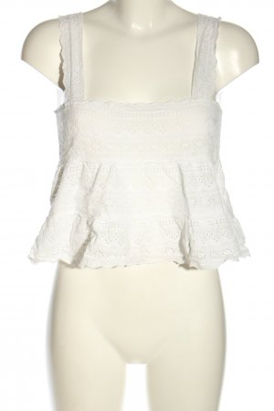 Forever 21 Cropped Top weiß Blumenmuster Casual-Look