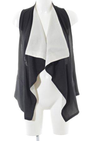 Forever 21 Chaleco con flecos negro-blanco look casual