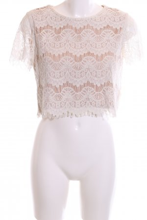Forever 21 Crochet Shirt natural white-beige loosely knitted pattern casual look
