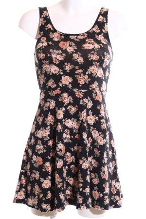 Forever 21 Jerseykleid schwarz-nude Blumenmuster Casual-Look