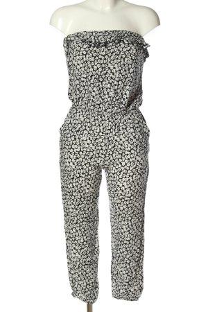 Forever 21 Jumpsuit weiß-schwarz Allover-Druck Casual-Look