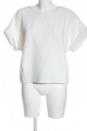 Forever 21 Kurzarm-Bluse weiß abstraktes Muster Elegant