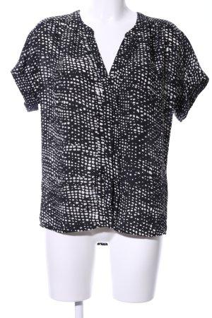Forever 21 Kurzarm-Bluse schwarz-weiß grafisches Muster Business-Look