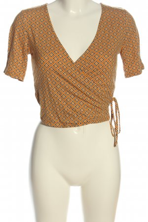 Forever 21 Kurzarm-Bluse hellorange Allover-Druck Casual-Look