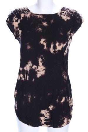 Forever 21 Kurzarmkleid schwarz-creme abstraktes Muster Casual-Look