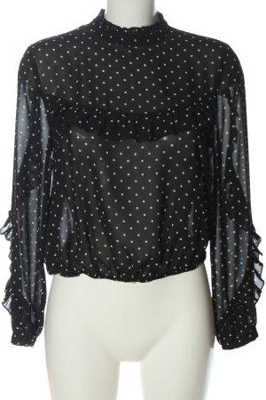 Forever 21 Langarm-Bluse schwarz-weiß Punktemuster Casual-Look