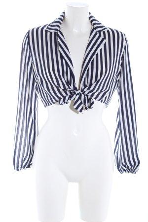Forever 21 Langarm-Bluse weiß-schwarz Streifenmuster Casual-Look