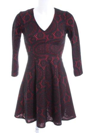 Forever 21 Langarmkleid rot-schwarz abstraktes Muster Business-Look