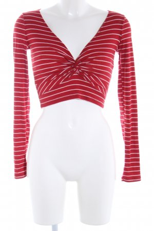 Forever 21 Longsleeve rot-weiß Streifenmuster Casual-Look