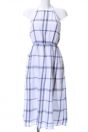 Forever 21 Robe dos-nu blanc-bleu motif à carreaux style décontracté