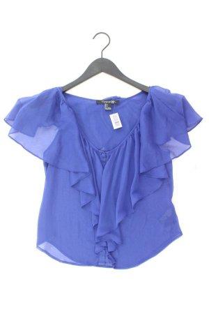 Forever 21 Ruffled Blouse blue-neon blue-dark blue-azure polyester