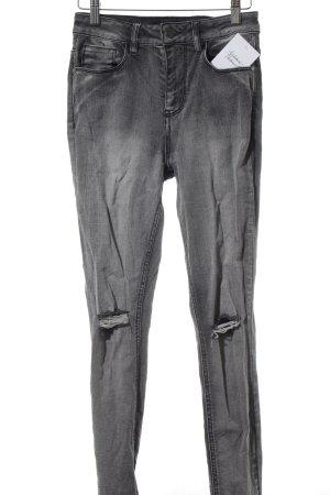Forever 21 Skinny Jeans dunkelgrau Destroy-Optik
