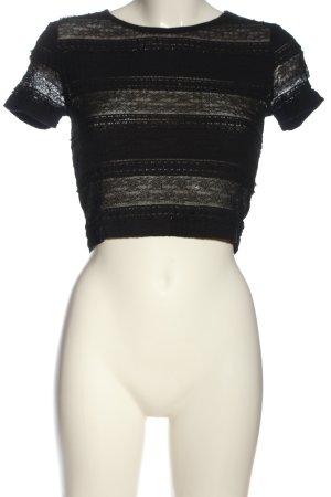 Forever 21 Koronkowa bluzka czarny Siateczkowy wzór W stylu casual