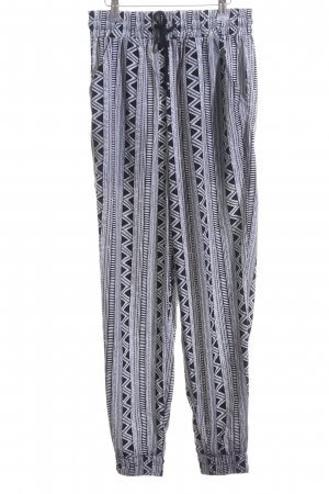 Forever 21 Stoffhose weiß-schwarz abstraktes Muster Metallelemente