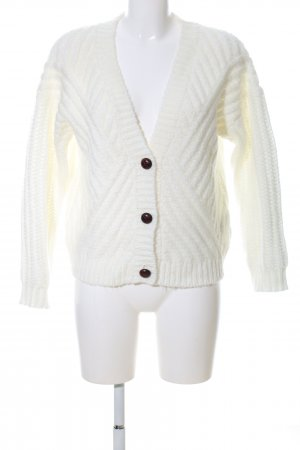 Forever 21 Strickjacke weiß Zopfmuster Casual-Look