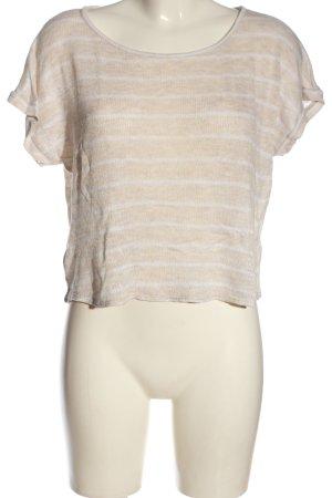 Forever 21 T-shirts en mailles tricotées crème-blanc motif rayé