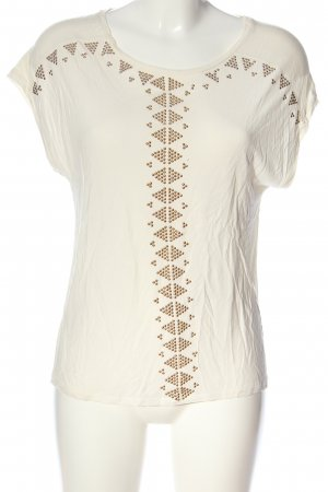 Forever 21 Strickshirt creme-goldfarben grafisches Muster Casual-Look