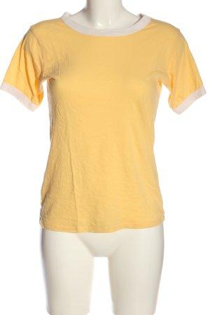 Forever 21 T-Shirt blassgelb-weiß Casual-Look