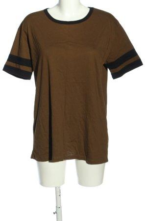 Forever 21 T-Shirt braun-schwarz Streifenmuster Casual-Look