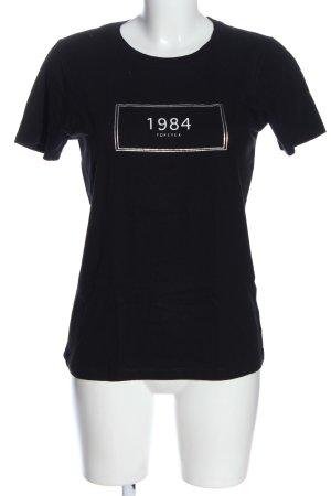 Forever 21 T-Shirt schwarz-weiß Schriftzug gedruckt Casual-Look