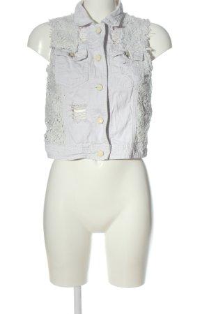 forever denim Jeansowa kamizelka biały Wzór w paski W stylu casual