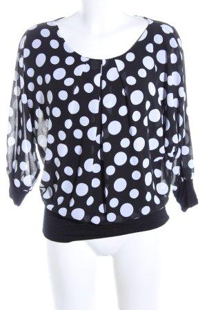 Langarm-Bluse schwarz-weiß Allover-Druck Casual-Look