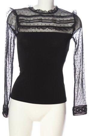 Forever New Blusa de encaje negro estampado a lunares elegante
