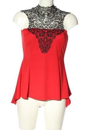 forever Spitzenbluse rot-schwarz Elegant