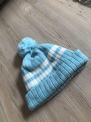 Forever 21 Bonnet à pompon bleu clair-blanc