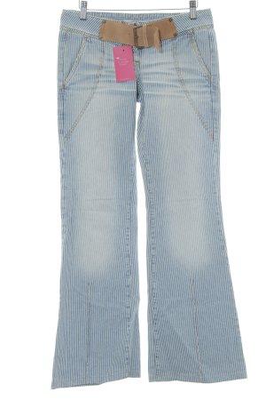 Fornarina Boot Cut Jeans stahlblau-creme Streifenmuster Lederelemente