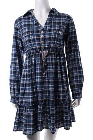 Fornarina Empire Dress blue-white check pattern