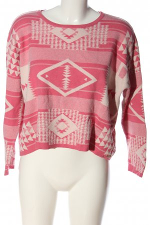 Fornarina Grobstrickpullover pink-creme Allover-Druck Casual-Look