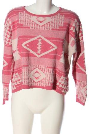 Fornarina Sweter z grubej dzianiny różowy-kremowy Na całej powierzchni