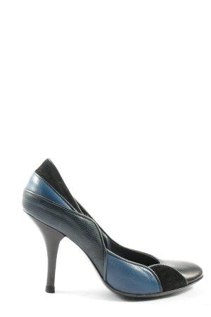 Fornarina High Heels schwarz-blau abstraktes Muster Casual-Look