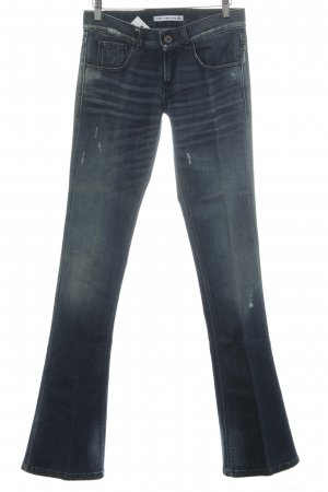 Fornarina Jeansschlaghose dunkelblau Destroy-Optik