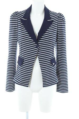 Fornarina Jerseyblazer weiß-blau Streifenmuster Casual-Look