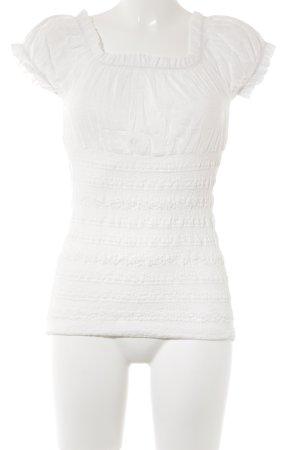 Fornarina Kurzarm-Bluse weiß Logo-Applikation aus Metall
